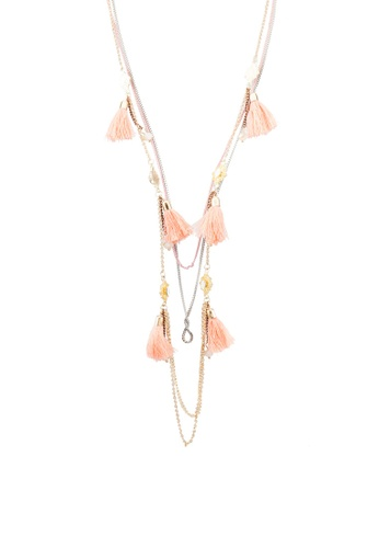 Red's Revenge pink Peach Tassel Charm Layered Necklace RE144AC0RNDDMY_1