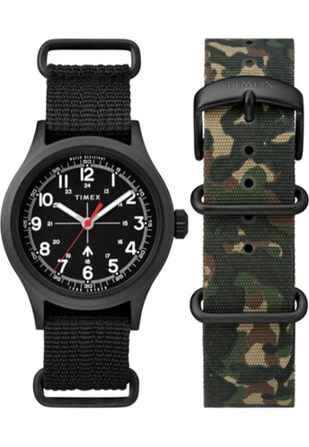 TIMEX black and green Timex x Todd Snyder Military 40mm - Black Case & Fabric Strap (TWG017600) 568D8AC82BB30CGS_1