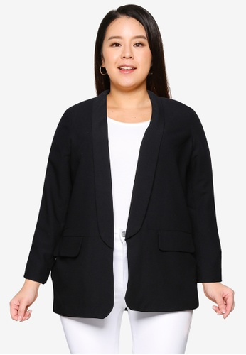 Only CARMAKOMA black Plus Size Cecili Long Blazer FE313AA8D6996BGS_1