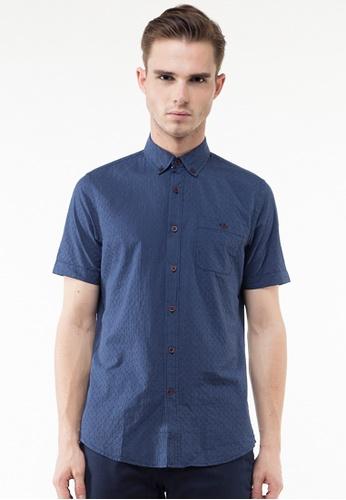 The Executive navy Dobby Short Sleeve Shirt TH044AA0SZ9CMY_1