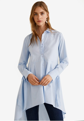 Mango blue Cotton Long Shirt 615D4AAB1AEBBAGS_1