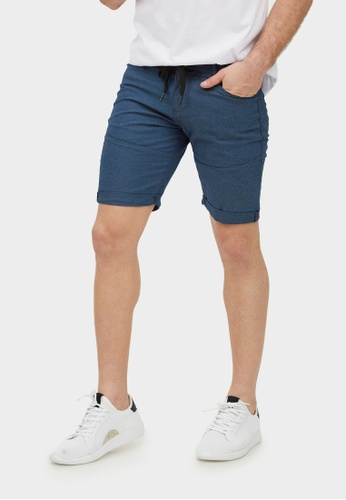 2nd Edition blue Drawstring Chambray Shorts In Slate Blue 9983AAAE0630AAGS_1