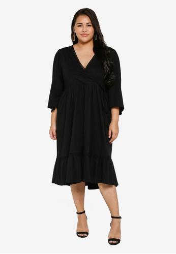 e1a2eac5ec48 LOST INK PLUS black Plus Size Wrap Dress With Trim 9C668AA9475116GS_1