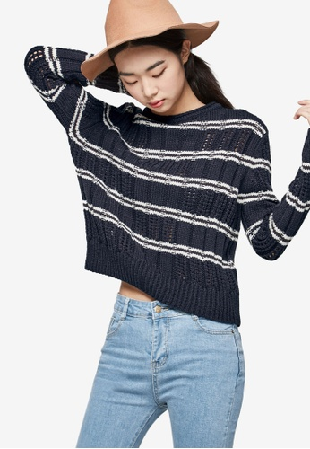 NAIN navy Wool-Blend Double Striped Long Sleeve Knit Top EE176AA5B56D05GS_1