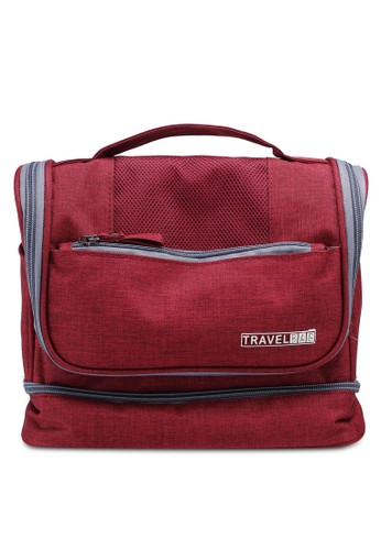 Bagstationz red Ligthweight Water-Resistant Travel Toiletries Large Pouch F0C61AC262DAF0GS_1