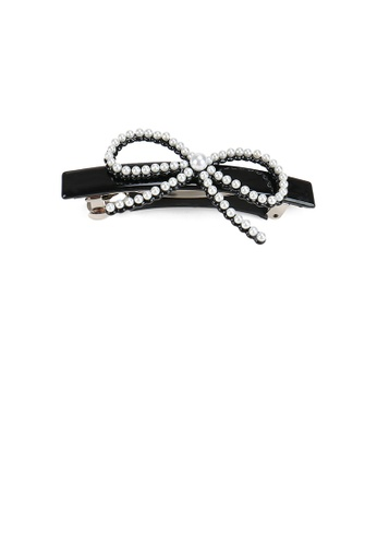 Glamorousky white Simple and Sweet Black Ribbon Hair Slide with Imitation Pearl E4F16ACADBD9F5GS_1