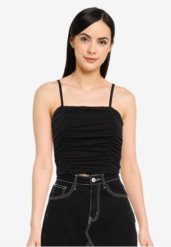 Hollister black Side Cinch Shirred Cami Top 3A559AA0019B38GS_1