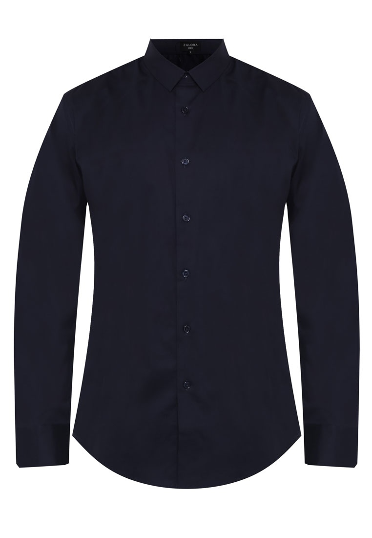 Poplin Fit Sleeve ZALORA Shirt Slim Cotton Navy Long EzTdwEqPC