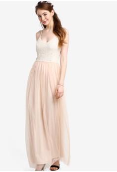 【ZALORA】 蕾絲亮片飾細肩帶伴娘禮服