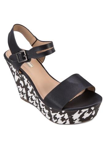 格紋楔形厚底繞esprit 童裝踝涼鞋, 女鞋, 鞋