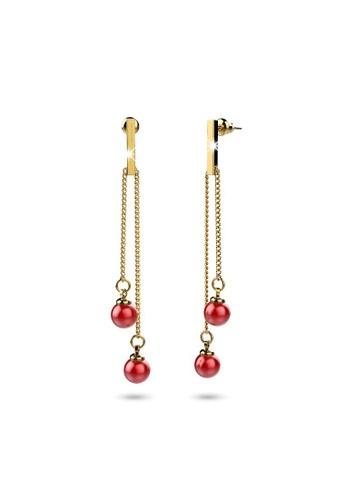 Bullion Gold gold BULLION GOLD Red Dot Dangle Gold Layered Earrings 14631AC3658C40GS_1