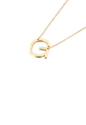 Glamorousky 銀色 簡約時尚鍍金色英文字母G 316L鋼吊墜配項鏈 DF13AACCAF95FEGS_1