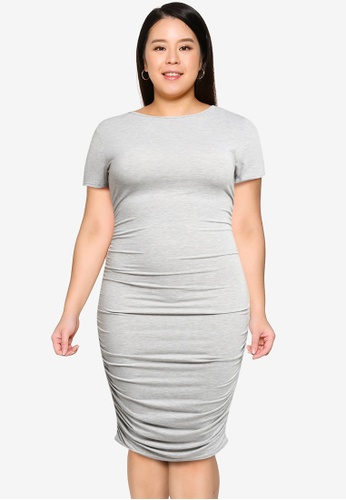 MISSGUIDED 灰色 大尺碼 Ruched Side 緊身洋裝 F6B58AA82922C2GS_1