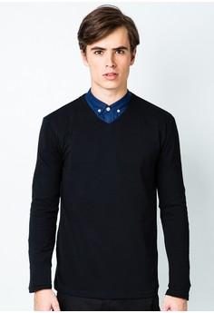 Men's Basic Long Sleeved Pique T-shirt
