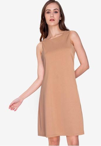 ZALORA WORK brown Cut-Out Shift Dress 5A896AAC017633GS_1