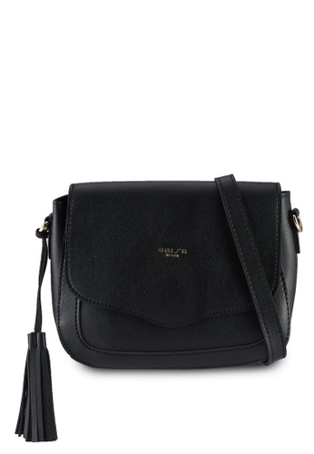 Unisa black Faux Leather Sling Bag With Tassel 211B6AC81D238AGS_1
