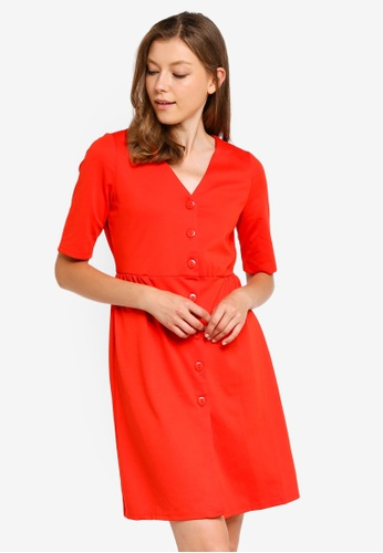 Vero Moda red Alexa Button Dress D494EAAF878E32GS_1
