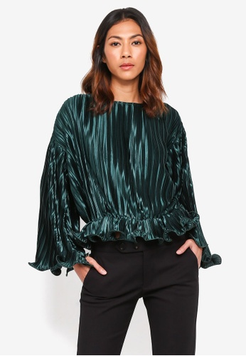 bYSI green Textured Ruffle Fluted Blouse 06107AA5FEC554GS_1
