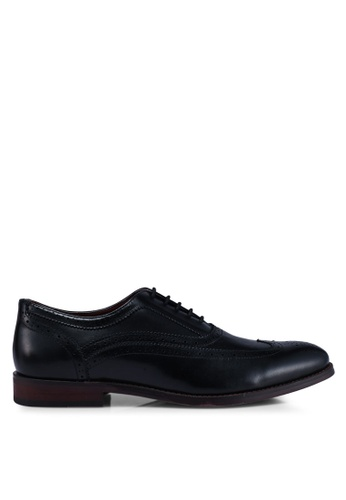 Burton Menswear London black Black Leather Shoes With Wingcap Design And Brogue Detailing 88EF2SH413E949GS_1
