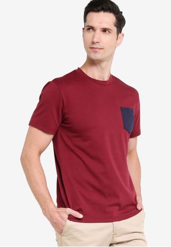 ZALORA BASICS 紅色 Regular Fit Contrast Pocket T-shirt D14A4AAB99CA2CGS_1