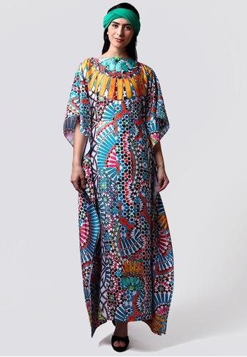 Kanzi by liza yahya multi Kanzi Exclusive Short Sleeve Classic Kaftan 6E955AA824947EGS_1