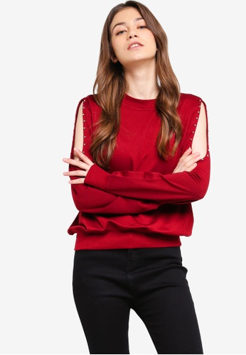 Something Borrowed red Studded Cold Shoulder Jumper F6E2AAA8C99DF6GS_1