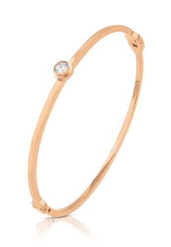 SO SEOUL gold Athena Solitaire Round Diamond Simulant Rose Gold Hinged Bangle BBEFDAC2D817B3GS_1