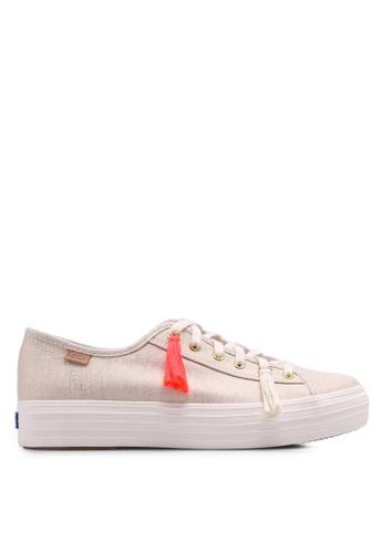 Keds beige Triple Kickstart Tassel Sneakers KE942SH0STF5MY_1
