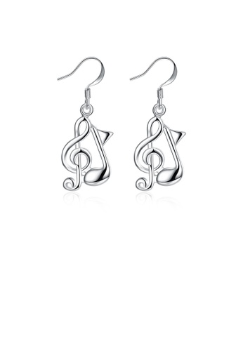 Glamorousky silver Simple and Fashion Music Note Earrings 0147AAC4E80665GS_1