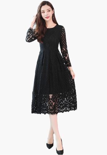 Halo black A/W Lace Slim Maxi Dress EFEDEAA274AC3DGS_1