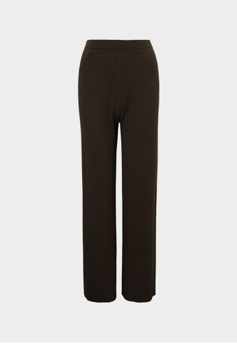Pomelo brown High Waist Ribbed Pants - Brown C5CA3AA2E03F0FGS_1