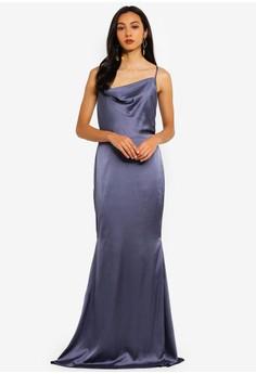 Bridesmaids Satin Cowl Maxi Dress