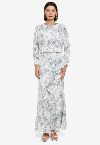 Zalia black and white Drop Shoulder Top With Drape Skirt Set 8F343AAE5B407DGS_1