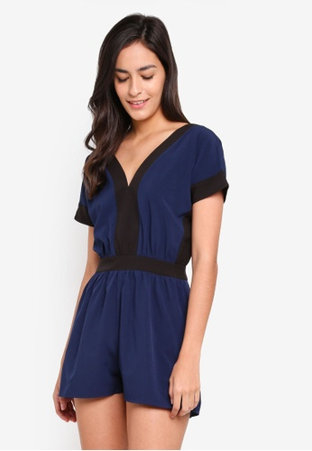 Something Borrowed black and navy Drop Shoulder Romper 3B807AA4F84E87GS_1