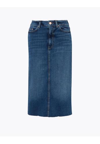 MARKS & SPENCER blue M&S Denim Midi Skirt 4FFF1AA20603D5GS_1