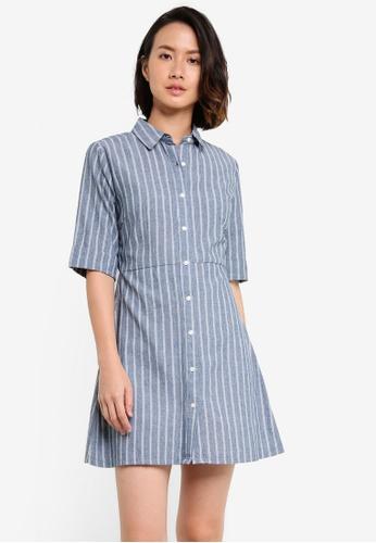 ZALORA BASICS blue Essential Stripe Shift Dress 3E8E6AAD4D9900GS_1