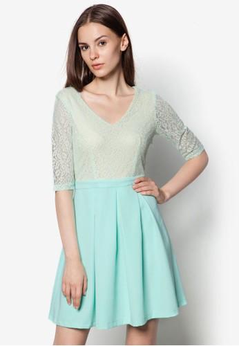 假兩件蕾絲褶飾連身裙esprit 會員, 服飾, 洋裝