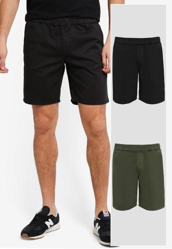 "ZALORA black and green 2 Pack 6"" Elastic Waist Band Chino Shorts ZA819AA0T281MY_1"