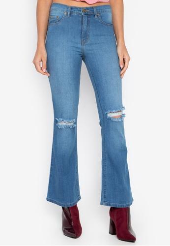 High Rise Semi Distressed Flare Jeans