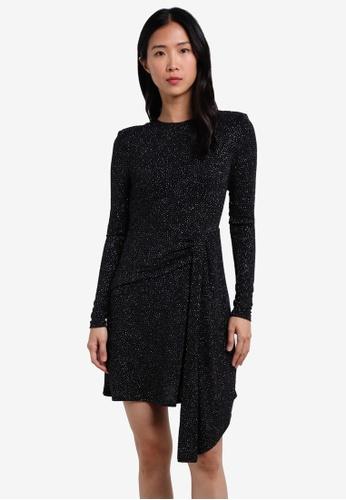 TOPSHOP black Asymmetrical Glitter Dress TO412AA0S4HTMY_1