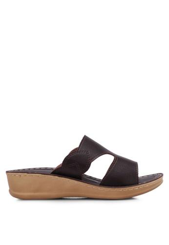 Noveni brown Cut Out Wedge Sandals NO978SH0RX3GMY_1