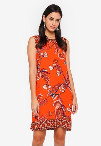 Wallis orange Petite Orange Floral Print Shift Dress 8270DAA1DB31E8GS_1