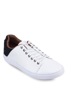 Contrast Faux Leather Sneakers