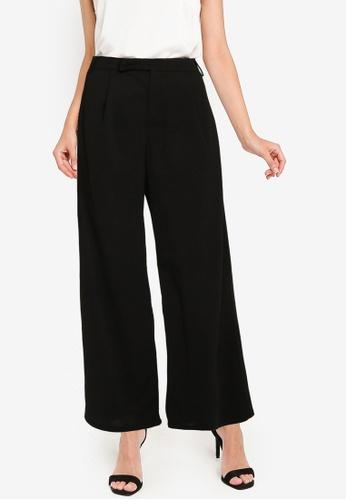 ZALORA WORK black High Waist Wide Leg Trousers B950CAA6D06E8AGS_1