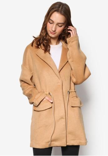 綢緞抽esprit 工作繩束腰Crombie 外套, 服飾, 外套