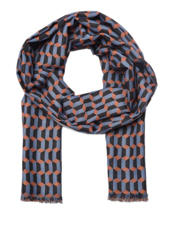 Trendyol blue Cotton Blue Patterned Scarf ABA77AA3F431CAGS_1