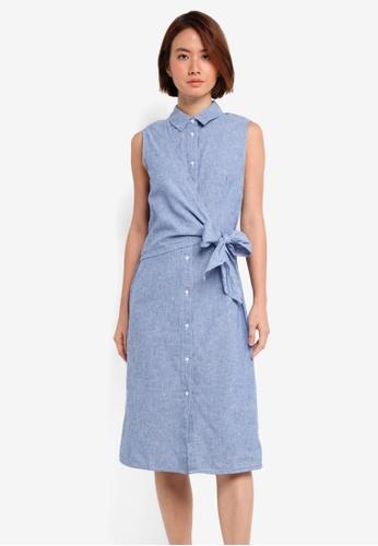 WAREHOUSE blue Stripe Tie Side Shirt Dress 45CE5AA4441E8EGS_1