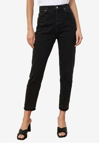 Trendyol black High Waist Mom Jeans 4B20BAAC764A70GS_1