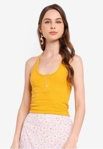 Cotton On yellow Penn Halter Tank 33820AAA6B1BC9GS_1
