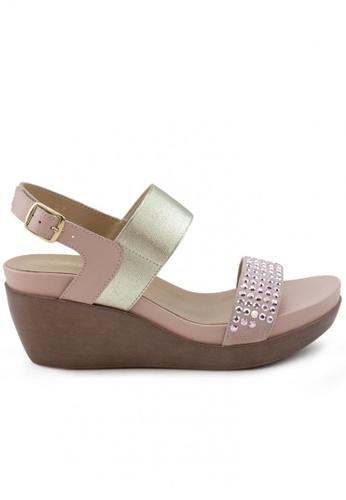 Shu Talk 粉紅色 牛皮型格窩釘鬆糕涼鞋 SH544SH099T2TW_1